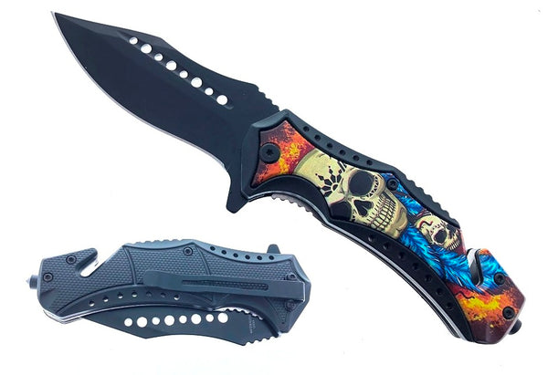 "KS 30124-SK1 4.75"" Handle ABS Inlaid Skull Feather & Flames Assist-Open Folding Knife"