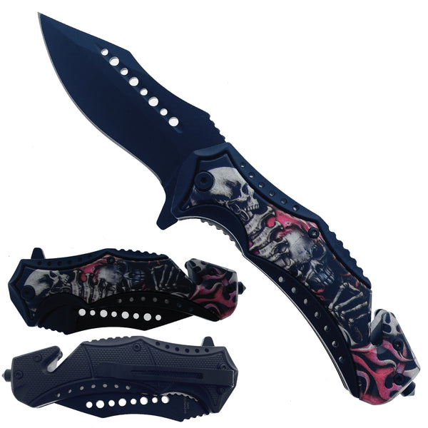 "KS 30124-SK4 4.75"" Handle ABS Inlaid Skeleton Assist-Open Folding Knife"