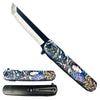"KS 61261-10 3 3/4"" Spring Assisted Knife with Samurai Geisha Japanese 3D Print Design"