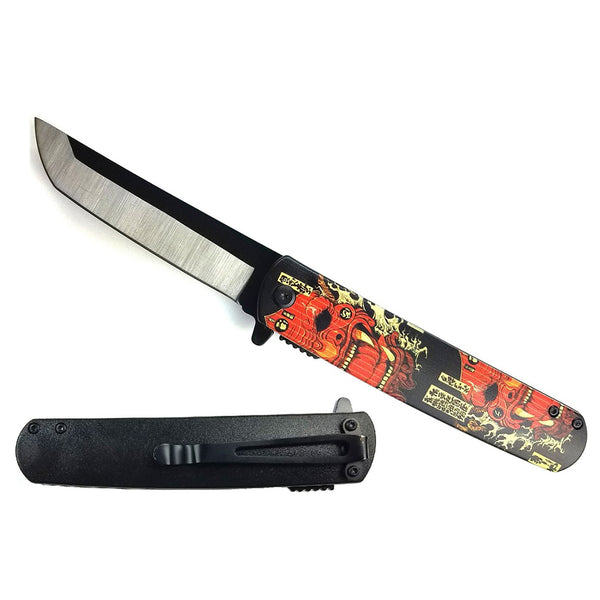 "KS 61261-1 3 3/4"" Tanto Assisted Knife Design ABS Handle with Red Japanese Oni Demon Design"