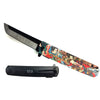 "KS 61261-3 3 3/4"" Spring Assisted Knife with Traditional Multi Color Japanese Samurai 3D Print Design"