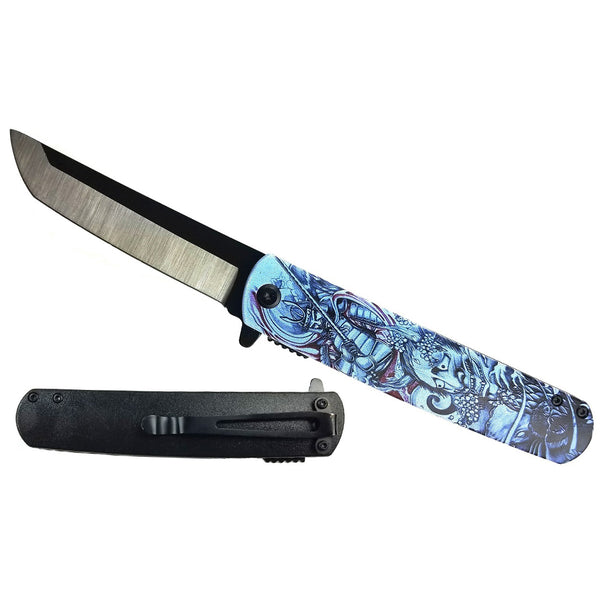 "KS 61261-7 3 3/4"" Spring Assisted Knife with Traditional Blue Japanese Samurai Oni Demon 3D Print Design"