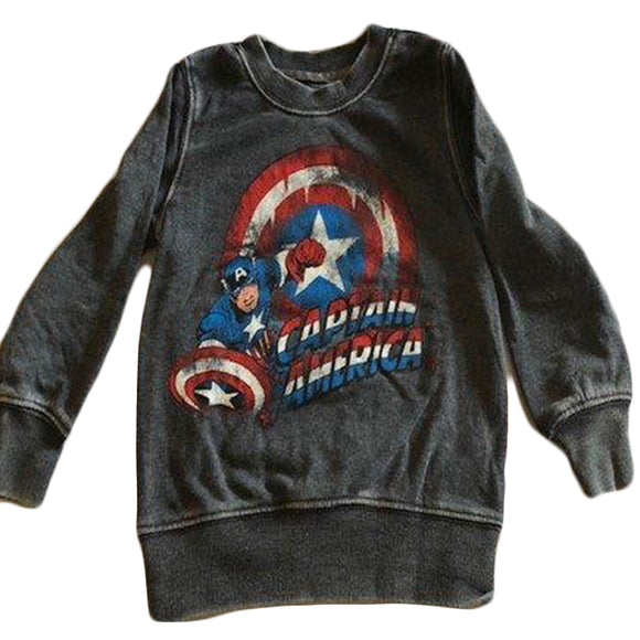 Boys Toddler Gray Captain America Shield Sweater Pullover