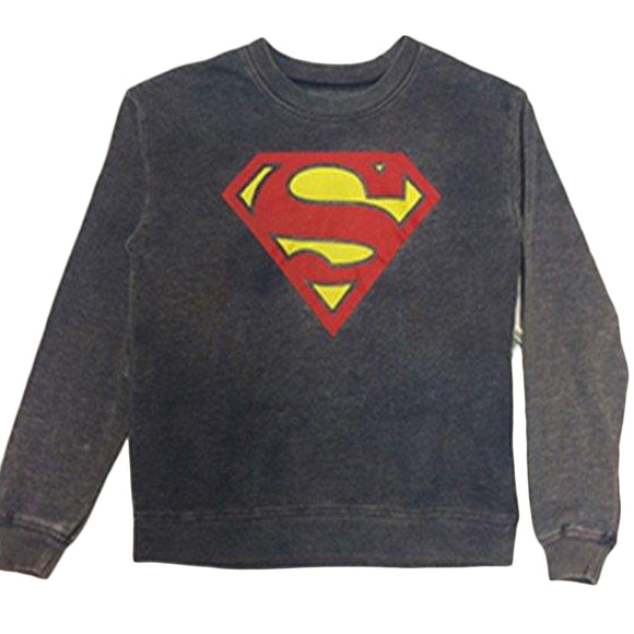 Women Juniors Superman Gray Sweater Pullover