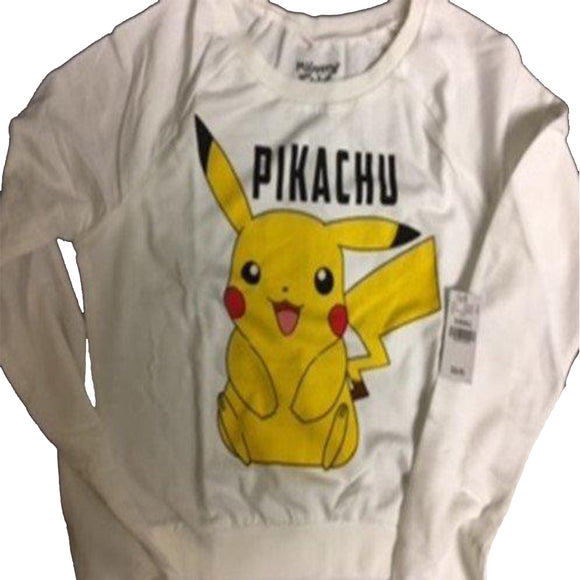 Womens Juniors White Pokemon Pikachu Sweater Pullover