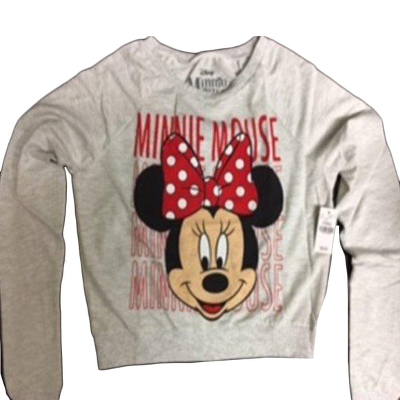 Womens Juniors White Disney Minnie Mouse Sweater Pullover