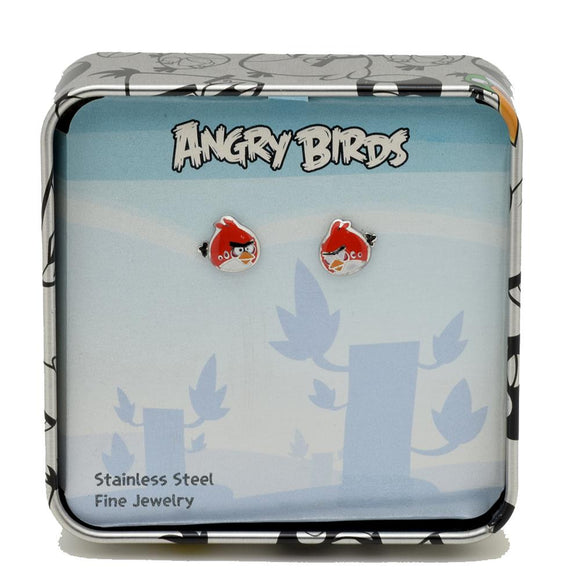ANGRY BIRDS™ Stainless Steel Red Bird Character Stud Earrings