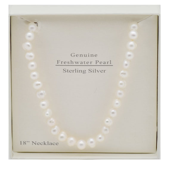 THE ESSENTIAL PEARL™ Sterling Silver White Pearl Necklace 18