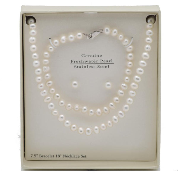 "THE ESSENTIAL PEARL™ Stainless Steel White FreshWater Pearl 18"" Necklace Bracelet & Stud Set"
