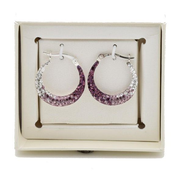 Hollow Sterling Silver Purple And Clear Ombre Crystal Round Hoop Earrings