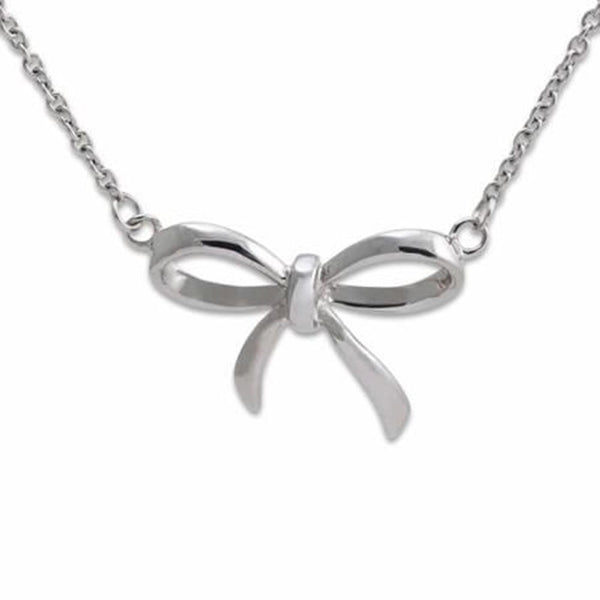 "Connections From Hallmark™ Stainless Steel Bow Pendant Necklace 18"" Chain + 2"" Ext."