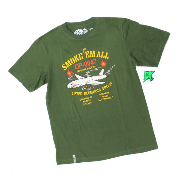 Mens LRG Lifted Research Group Smoke Em All Plane Green Tee T Shirt