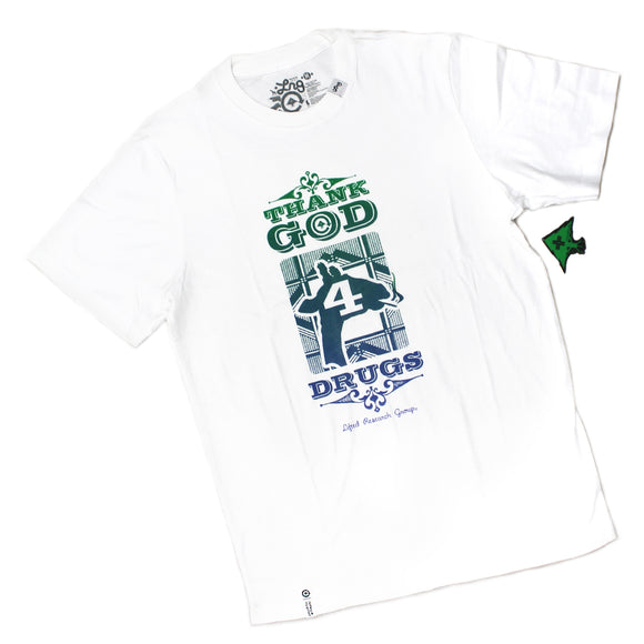 Mens LRG Lifted Research Group Thank God 4 Drugs Giraffe White Tee T Shirt