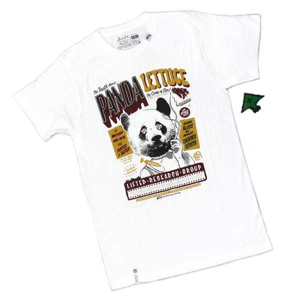 Mens LRG Lifted Research Group Panda Lettuce Crop Comic White Tee T Shirt