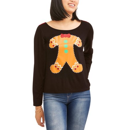 Juniors Women Gingerbread Wide Neck Long Sleeve Shirt Top