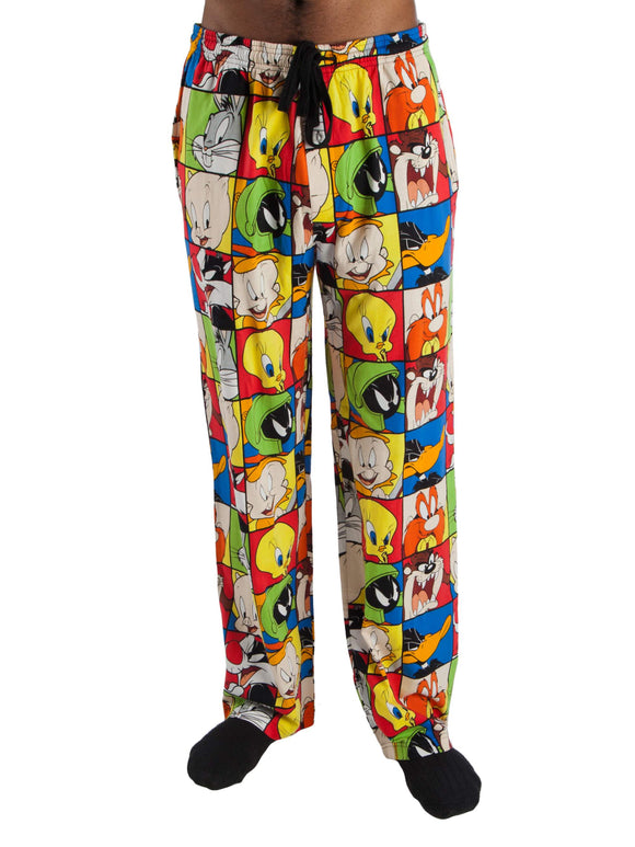 Men's Looney Tunes Character All Over Print Cotton Jersey Pajama Lounge Pants