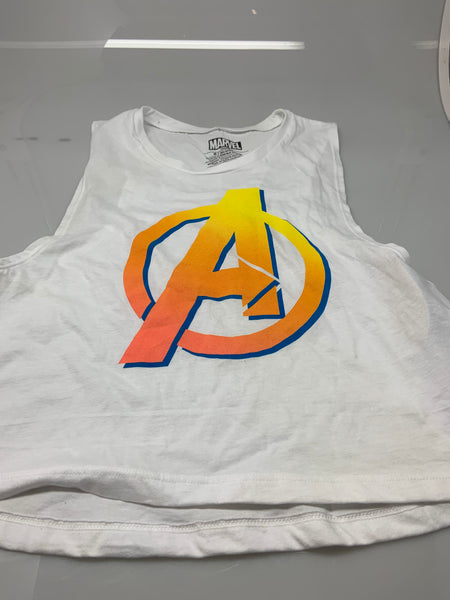 Womens Juniors White Marvel Avengers Logo Muscle Tank Top