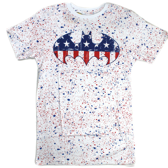 Mens White Splash Red and Blue Batman Logo Stars and Stripes Graphic Tee T-Shirt