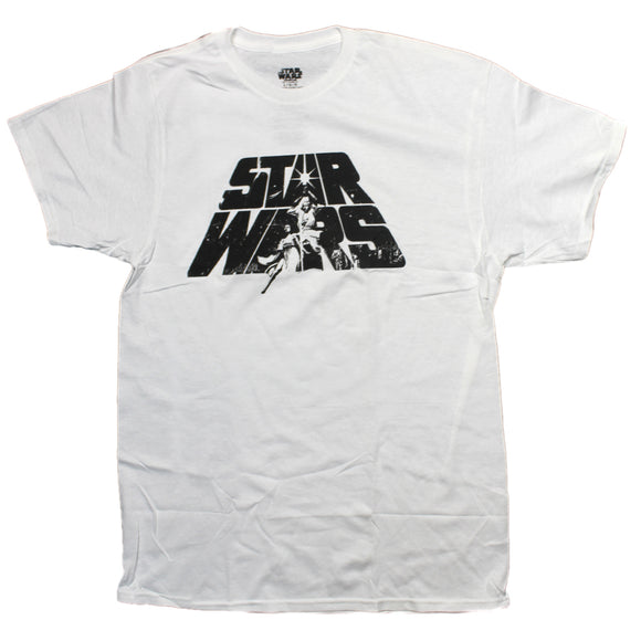 Mens White Retro Star Wars Logo Luke Skywalker Princess Leia Mens Tee T-Shirt