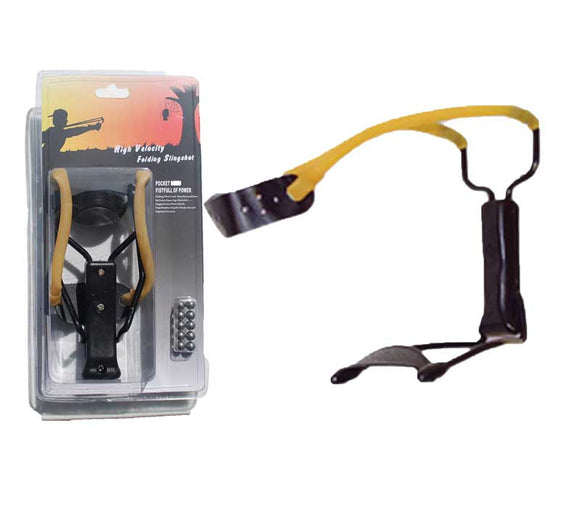 MKT1-BP High Velocity Folding Slingshot with 10 Steel Ball Ammo Wrist Support Blister Packing