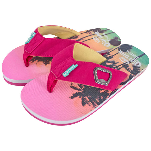 Corona Extra Women's Pink Sunset Sandals with Bottle Opener