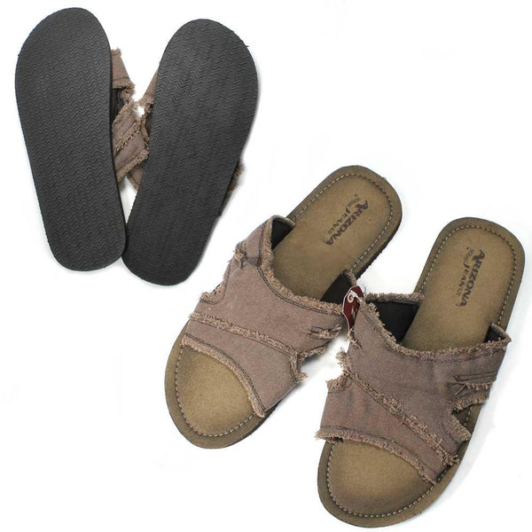MS2988 Arizona Jeans Brown Tan Frayed Sandals Slippers Mens