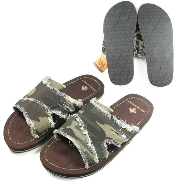Vintage Stone Frayed Camo Camouflage Mens Sandals Slides Slippers