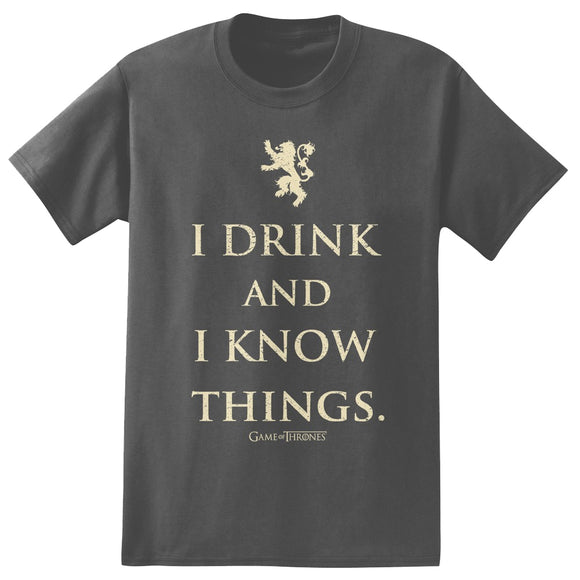 Men's Game of Thrones I Drink and I Know Things Gray Heather Graphic T-Shirt Tee