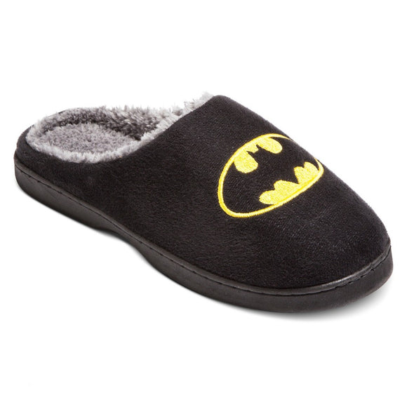 Mens Black Batman House Slippers Slides Plush