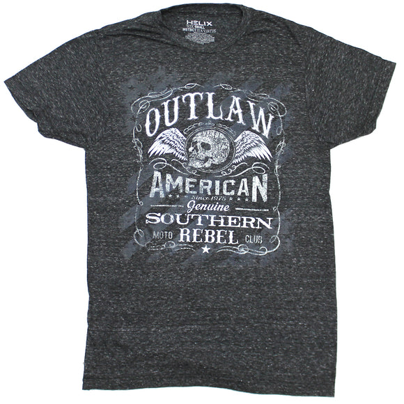 Mens Gray Heather Outlaw American Southern Rebel Tee T-Shirt