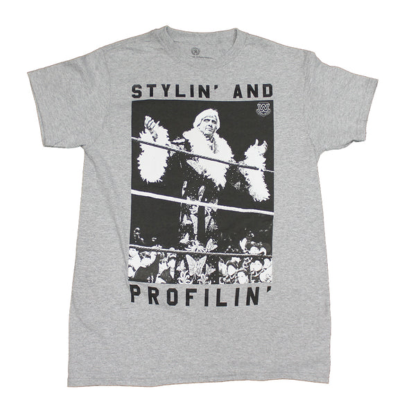 Mens Gray Heather Ric Flair Stylin & Profilin Graphic Tee T-Shirt