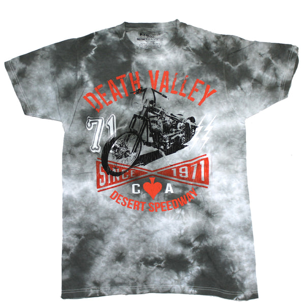 Mens Gray Tie Dye Death Valley Speedway Chopper Tee T-Shirt