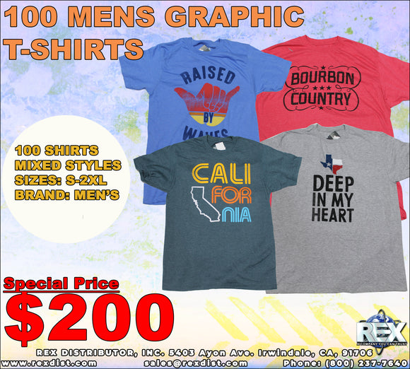 Package Deal #108- Mens MEN'S Brand 100 T-Shirts Package Deal