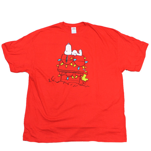 Mens Red Peanuts Snoopy Christmas Lights Graphic Tee T-Shirt