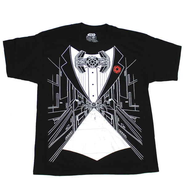 Mens Black Star Wars Death Star Tuxedo Graphic Tee T-Shirt