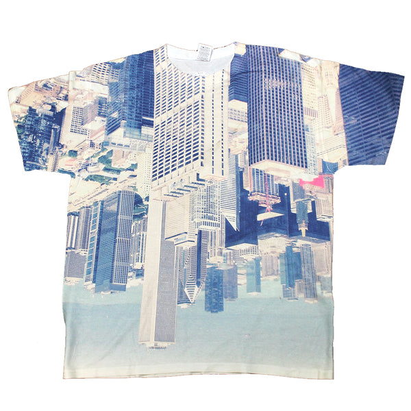 Mens Sublimated Upside-Down City Graphic Tee T-Shirt