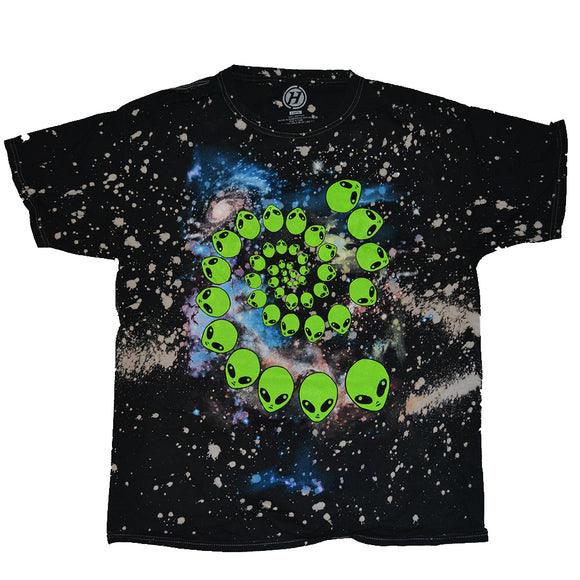 Men's Black Acid Wash Galaxy Alien Head Spiral Graphic Tee T shirt