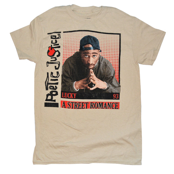 Men's Beige Poetic Justice Tupac Graphic Tee T-Shirt