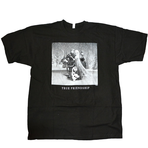 Mens Black Frozen True Friendship Graphic Tee T-Shirt