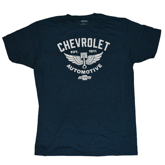 Men's Blue Heather Chevrolet Automotive Graphic Tee T-Shirt