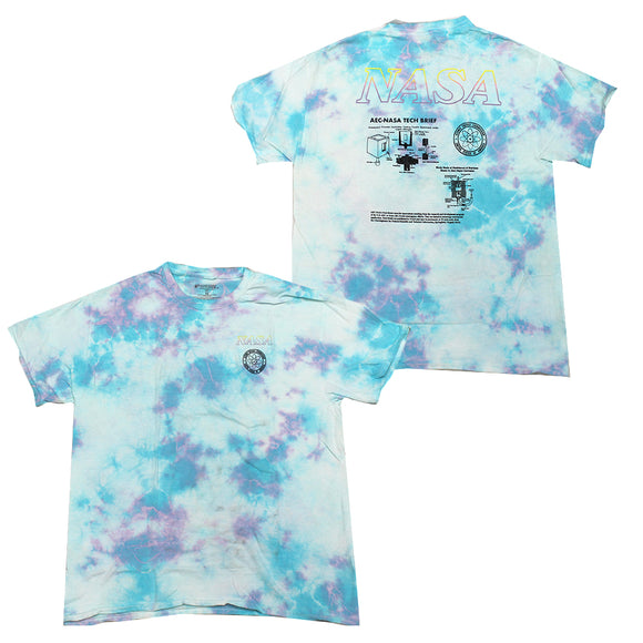 Mens Blue Tie Dye NASA Graphic Tee T-Shirt