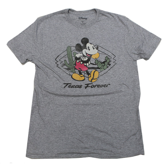 Mens Gray Heather Disney Mickey Mouse Texas Forever Graphic Tee T-Shirt