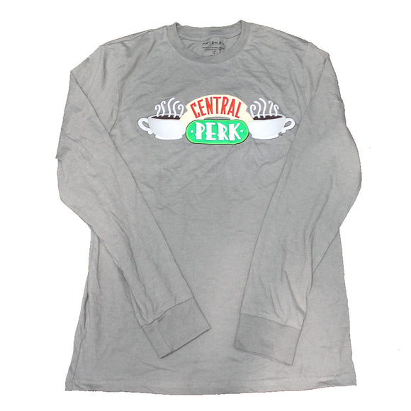 Men's Gray Friends Central Perk Graphic Long Sleeve Tee T-Shirt