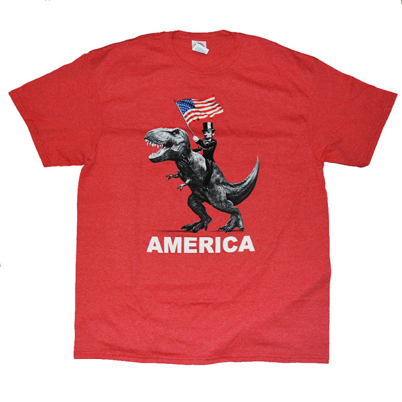 Men's Red Heather America Abe T-Rex Graphic Tee T-Shirt