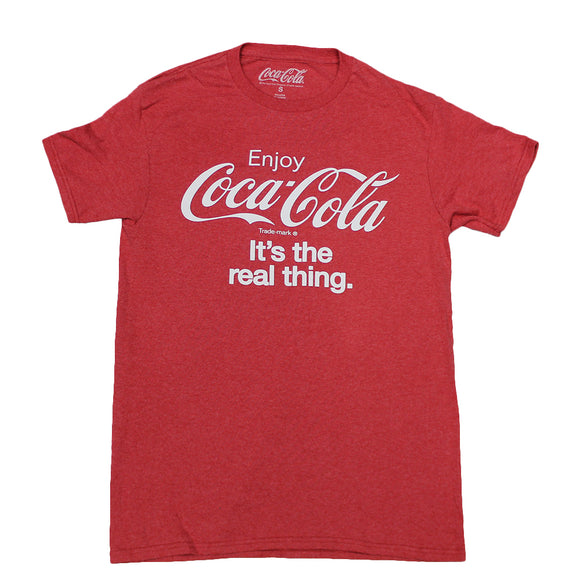 Mens Red Heather Coca-Cola It's the real thing Graphic Tee T-Shirt
