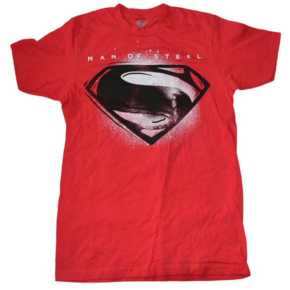 Mens Red Superman Man of Steel Logo Graphic Tee T-Shirt