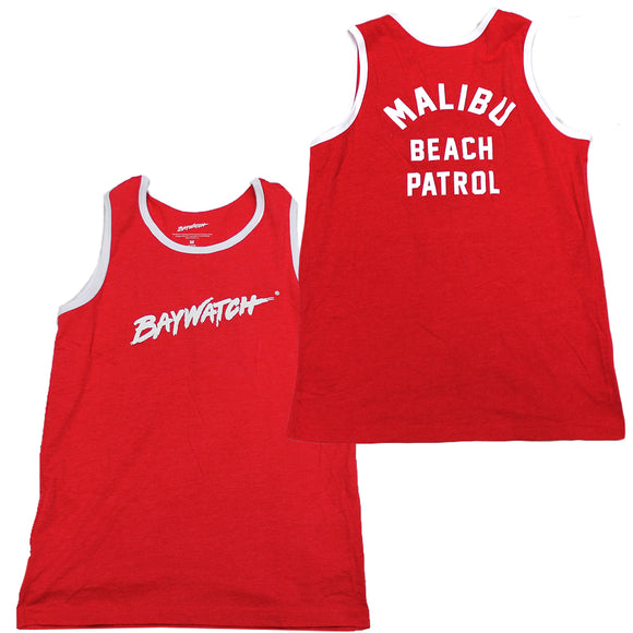 Mens Red Heather Baywatch Beach Patrol Tank Top