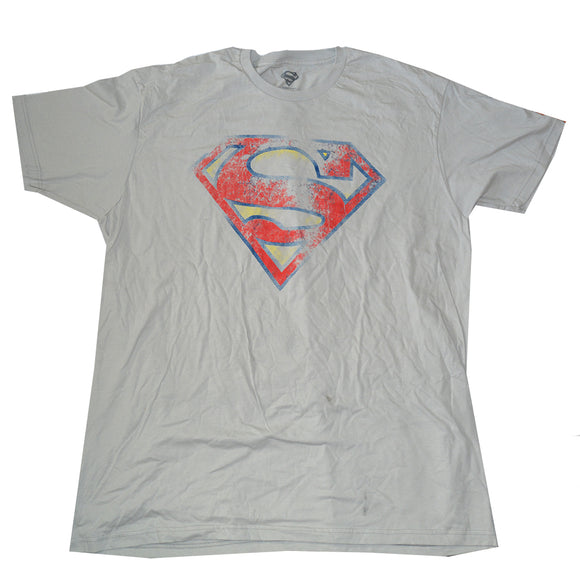Mens Gray Destressed Superman Logo Graphic Tee T-Shirt
