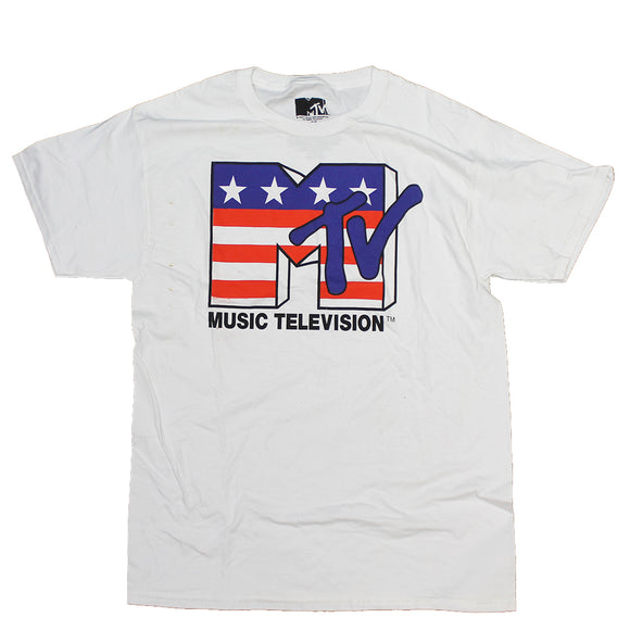Men's White MTV Logo USA Graphic Tee T-Shirt