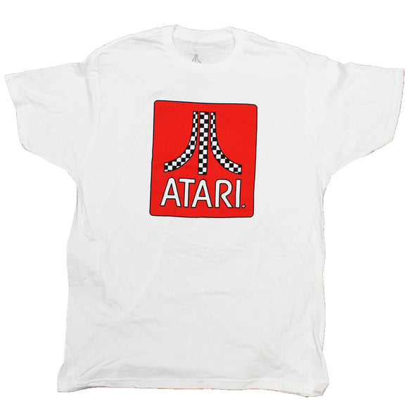 Men's White Atari Logo Graphic Tee T-Shirt